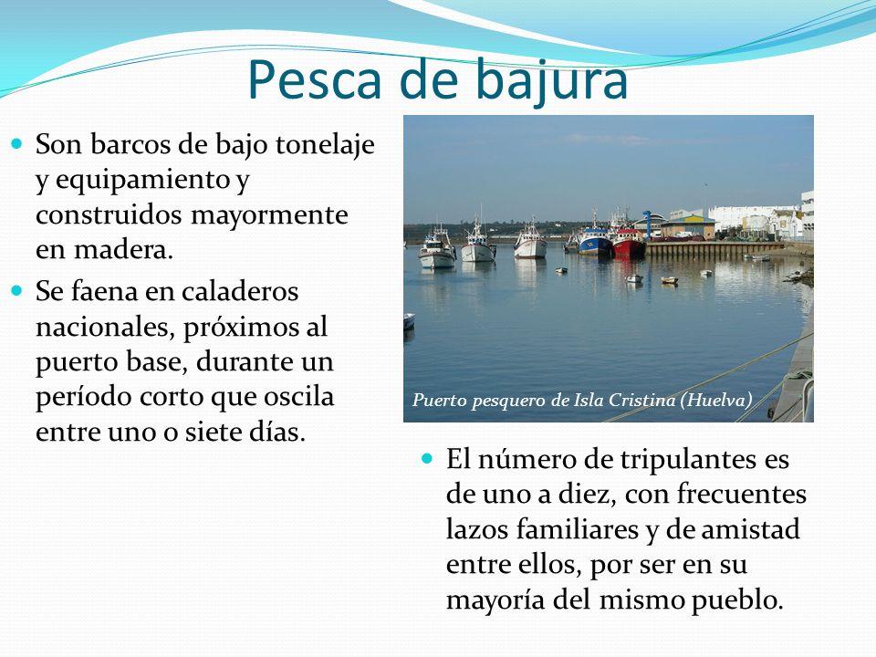 Pesca de bajura Son barcos de bajo tonelaje y equipamiento y construidos mayormente en madera.