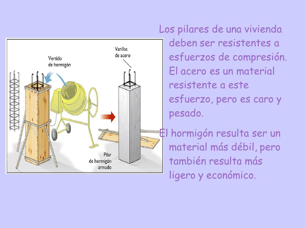 Los pilares de una vivienda deben ser resistentes a esfuerzos de compresión. El acero es un material resistente a este esfuerzo, pero es caro y pesado.