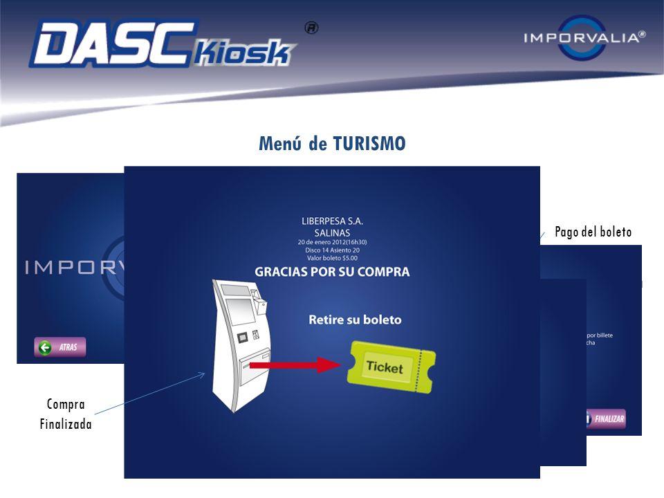 Menú de TURISMO Selección Tiquete Terrestre Pago del boleto