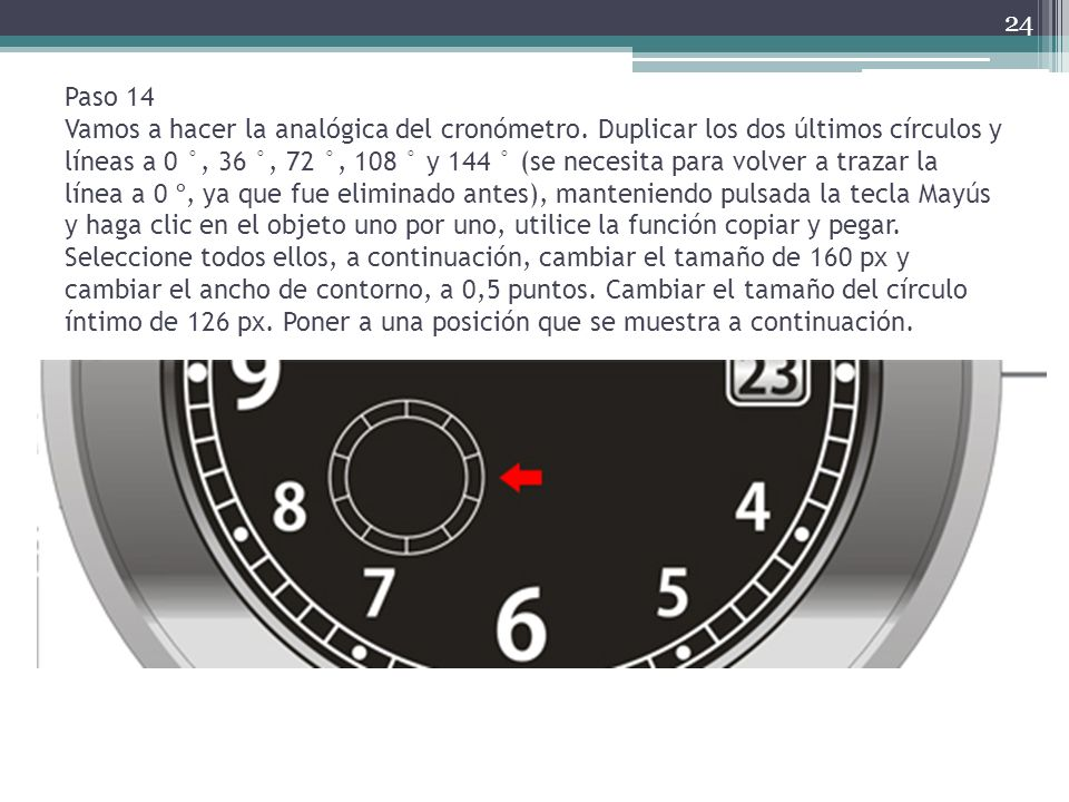 Paso 14 Vamos a hacer la analógica del cronómetro
