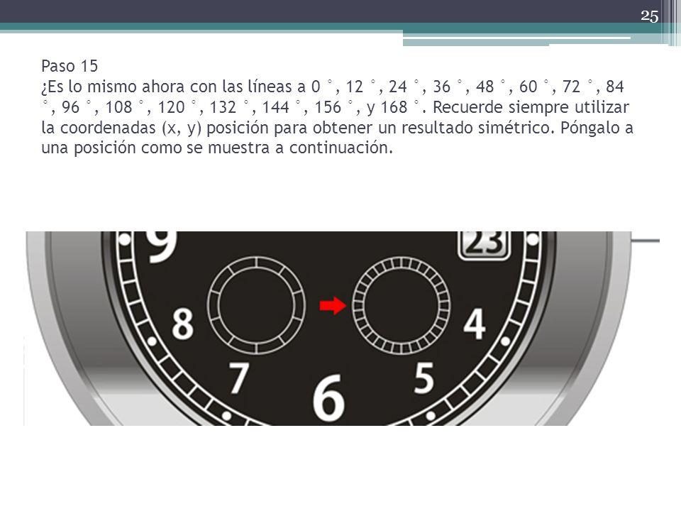 Paso 15 ¿Es lo mismo ahora con las líneas a 0 °, 12 °, 24 °, 36 °, 48 °, 60 °, 72 °, 84 °, 96 °, 108 °, 120 °, 132 °, 144 °, 156 °, y 168 °.