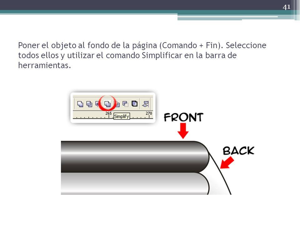 Poner el objeto al fondo de la página (Comando + Fin)