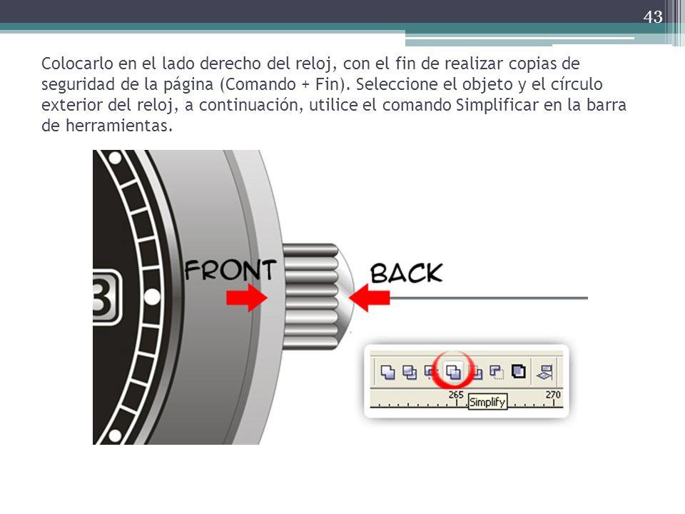 Colocarlo en el lado derecho del reloj, con el fin de realizar copias de seguridad de la página (Comando + Fin).