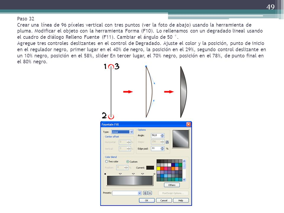 Paso 32 Crear una línea de 96 píxeles vertical con tres puntos (ver la foto de abajo) usando la herramienta de pluma.