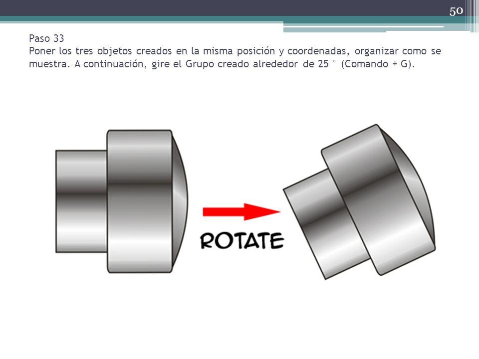 Paso 33 Poner los tres objetos creados en la misma posición y coordenadas, organizar como se muestra.