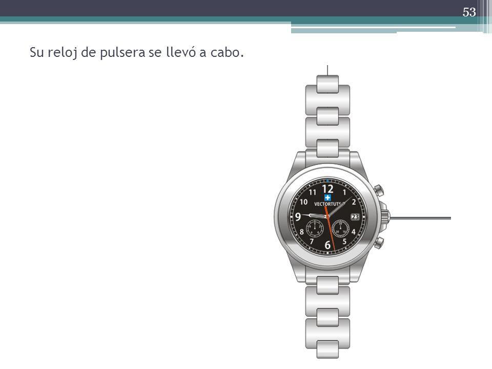 Su reloj de pulsera se llevó a cabo.