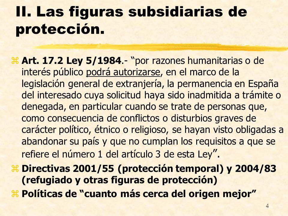 II. Las figuras subsidiarias de protección.