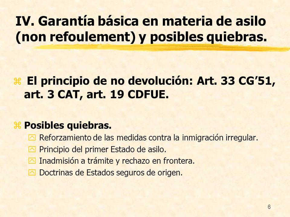 IV. Garantía básica en materia de asilo (non refoulement) y posibles quiebras.