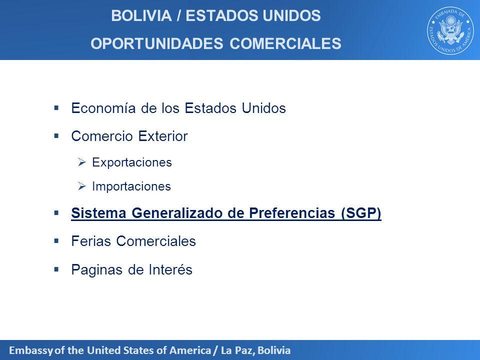 BOLIVIA / ESTADOS UNIDOS OPORTUNIDADES COMERCIALES