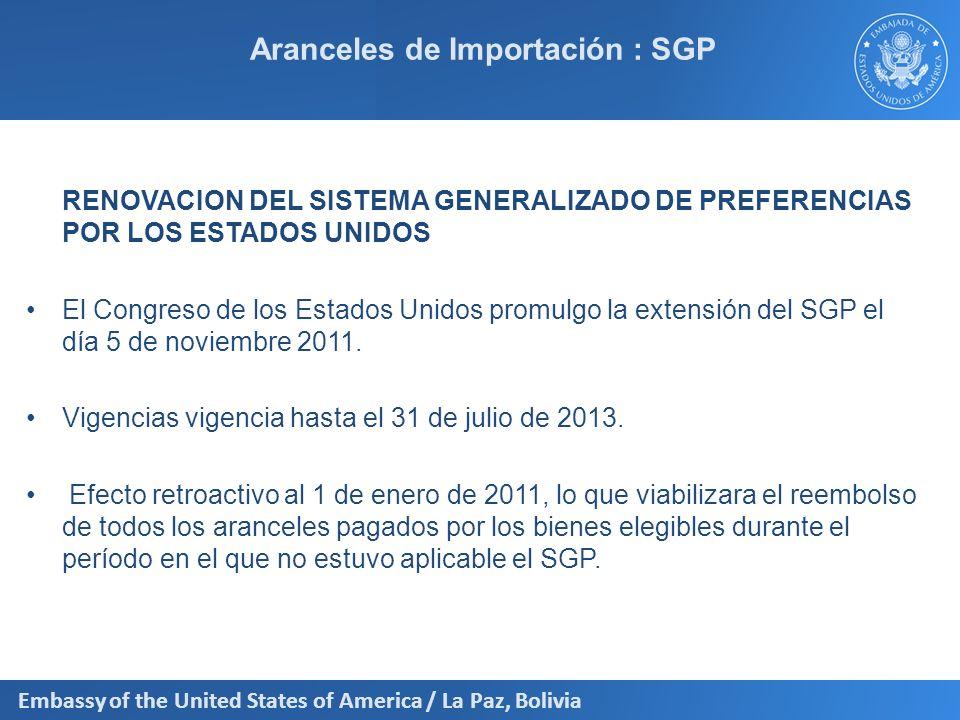 Aranceles de Importación : SGP