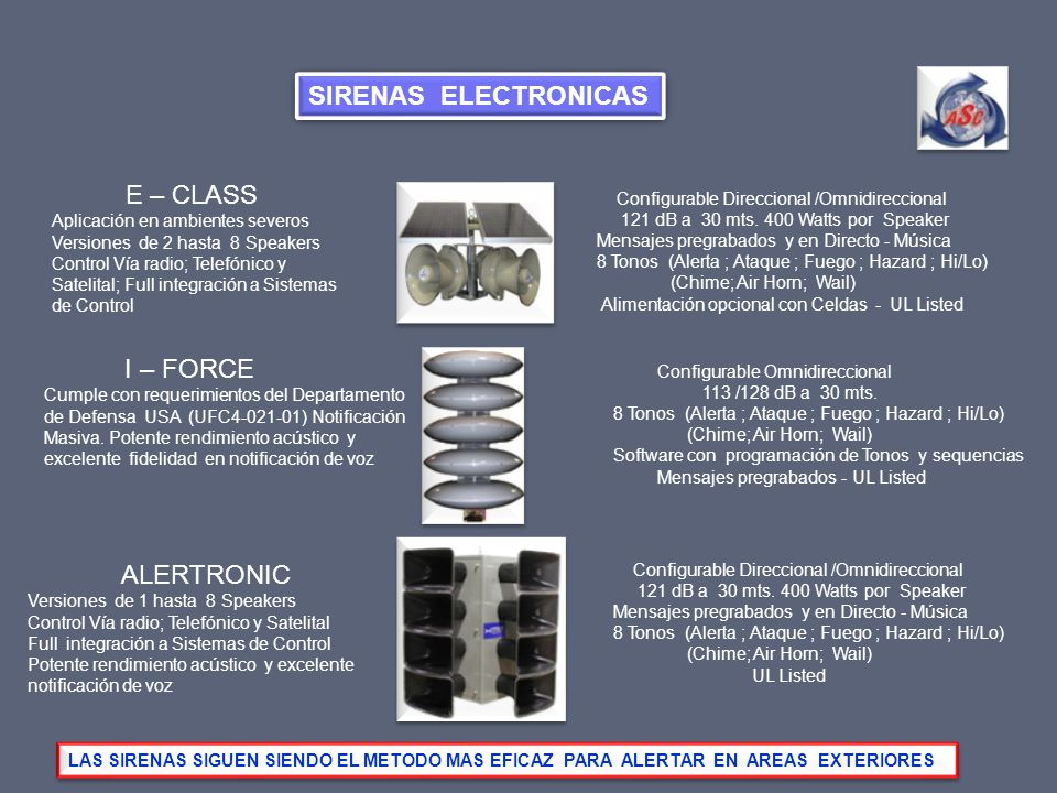 SIRENAS ELECTRONICAS E – CLASS I – FORCE ALERTRONIC