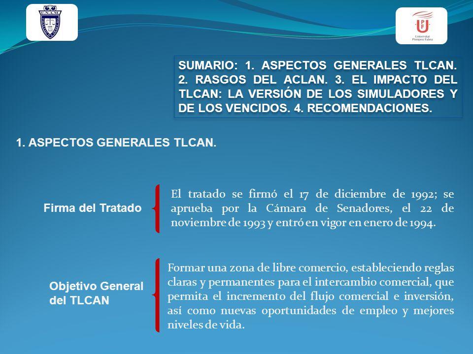 SUMARIO: 1. ASPECTOS GENERALES TLCAN. 2. RASGOS DEL ACLAN. 3