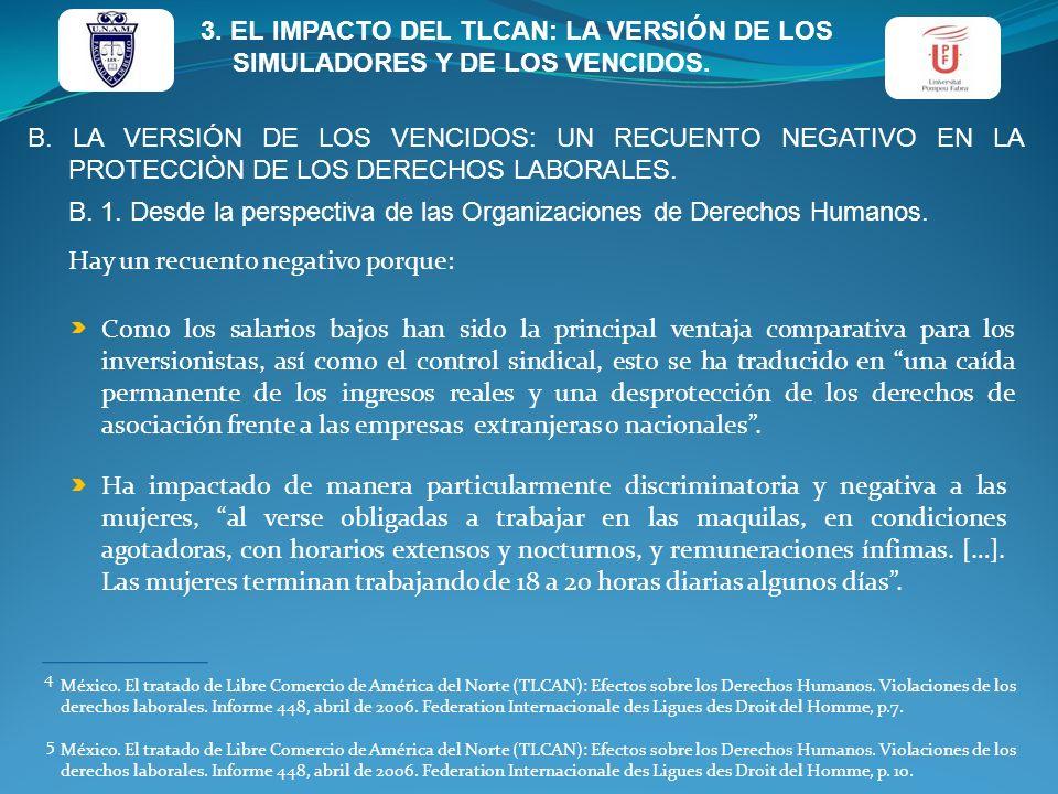 B. 1. Desde la perspectiva de las Organizaciones de Derechos Humanos.