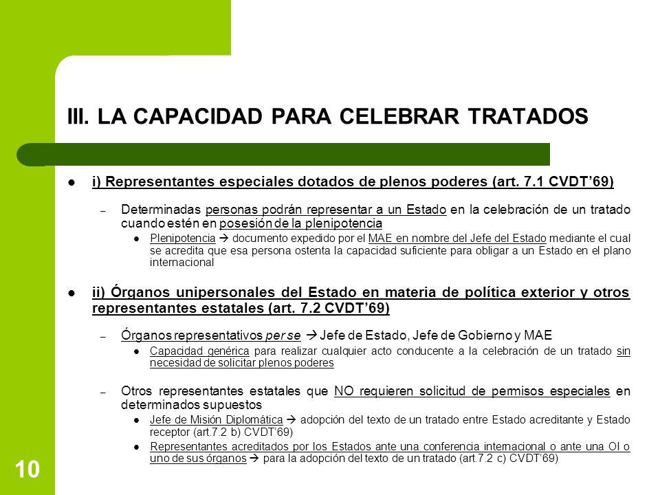 III. LA CAPACIDAD PARA CELEBRAR TRATADOS