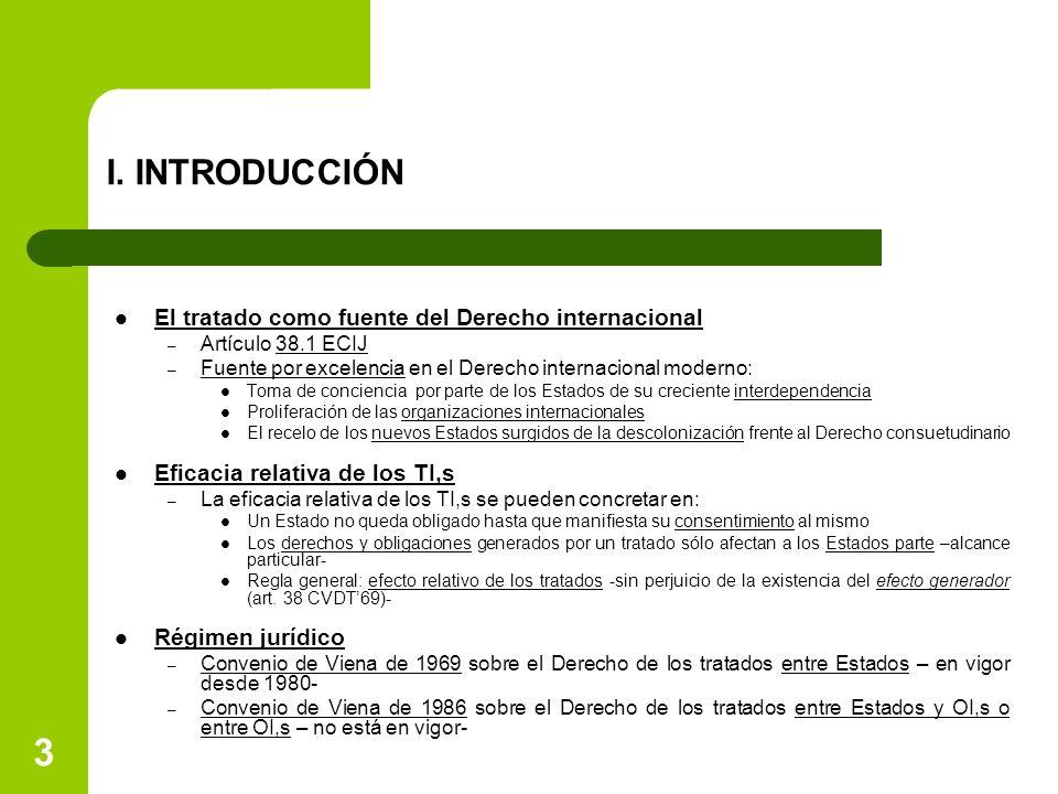 I. INTRODUCCIÓN El tratado como fuente del Derecho internacional