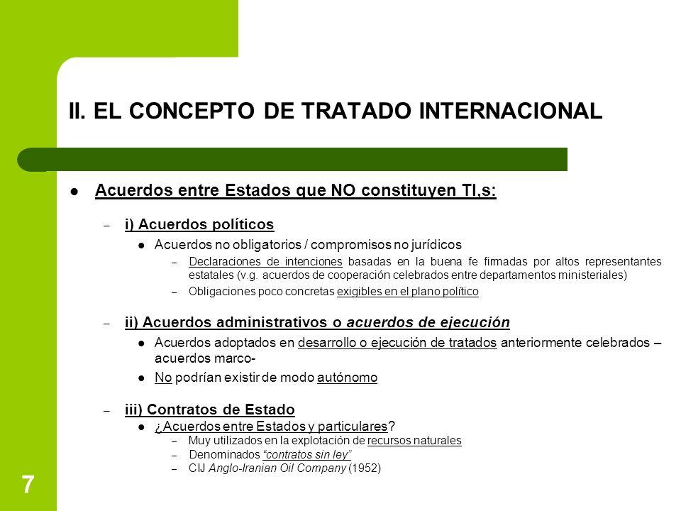 II. EL CONCEPTO DE TRATADO INTERNACIONAL