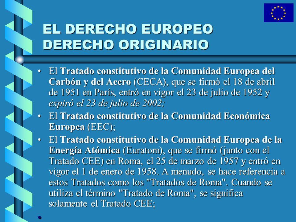 EL DERECHO EUROPEO DERECHO ORIGINARIO