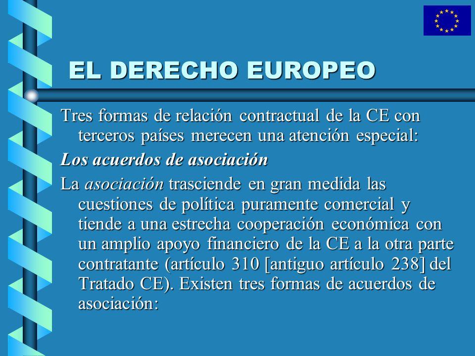 EL DERECHO EUROPEO Tres formas de relación contractual de la CE con terceros países merecen una atención especial: