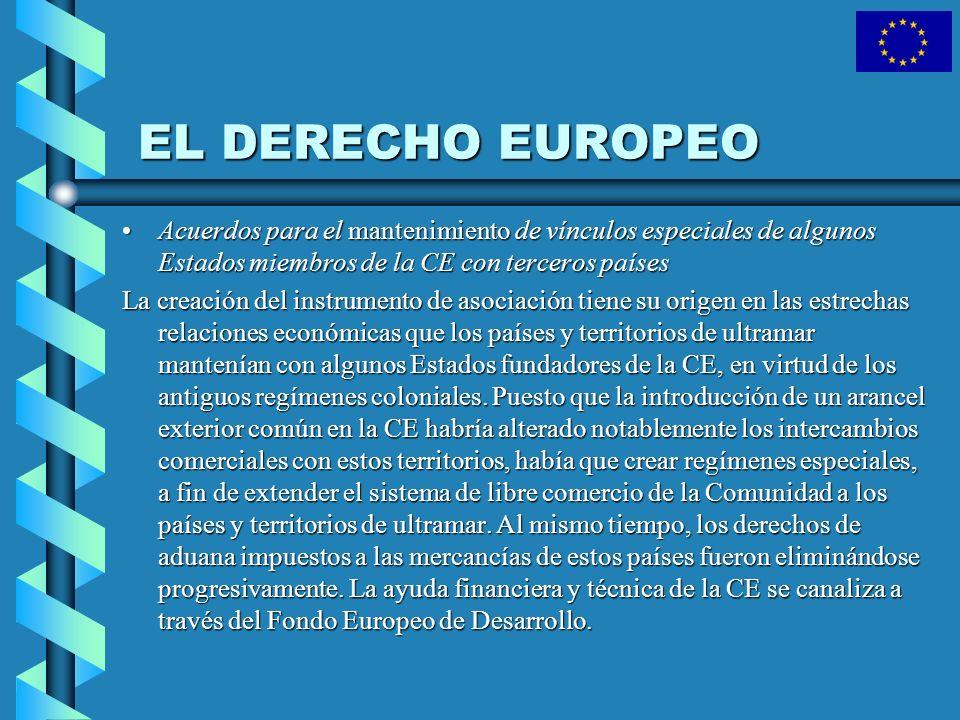 EL DERECHO EUROPEO Acuerdos para el mantenimiento de vínculos especiales de algunos Estados miembros de la CE con terceros países.