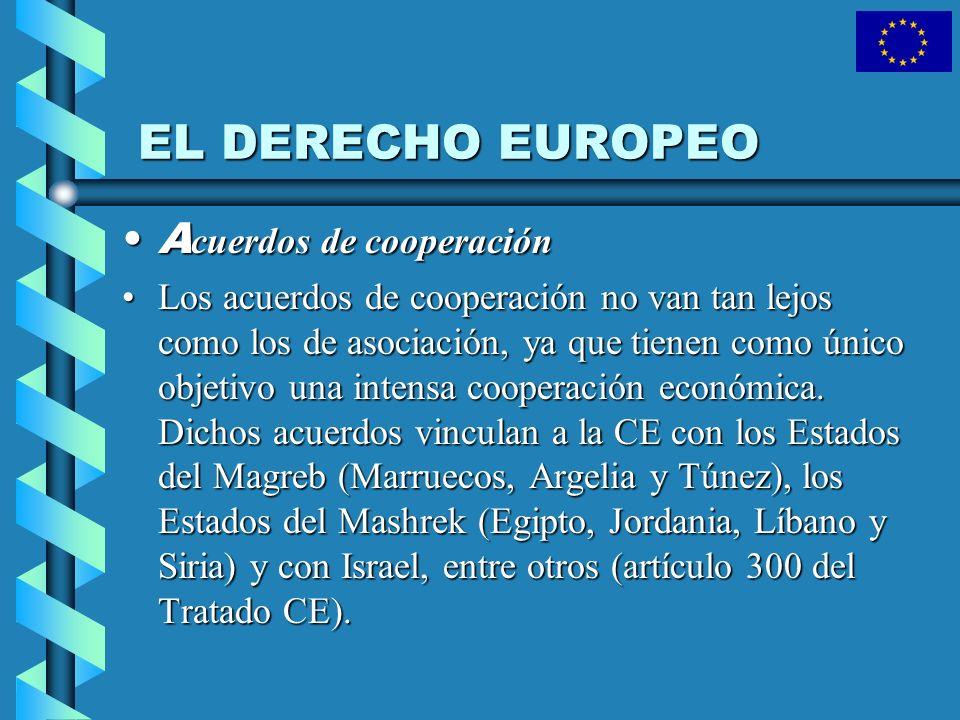 EL DERECHO EUROPEO Acuerdos de cooperación
