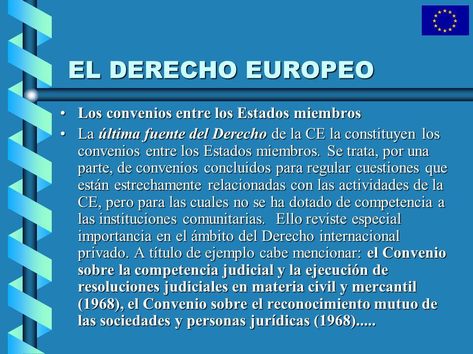 EL DERECHO EUROPEO Los convenios entre los Estados miembros