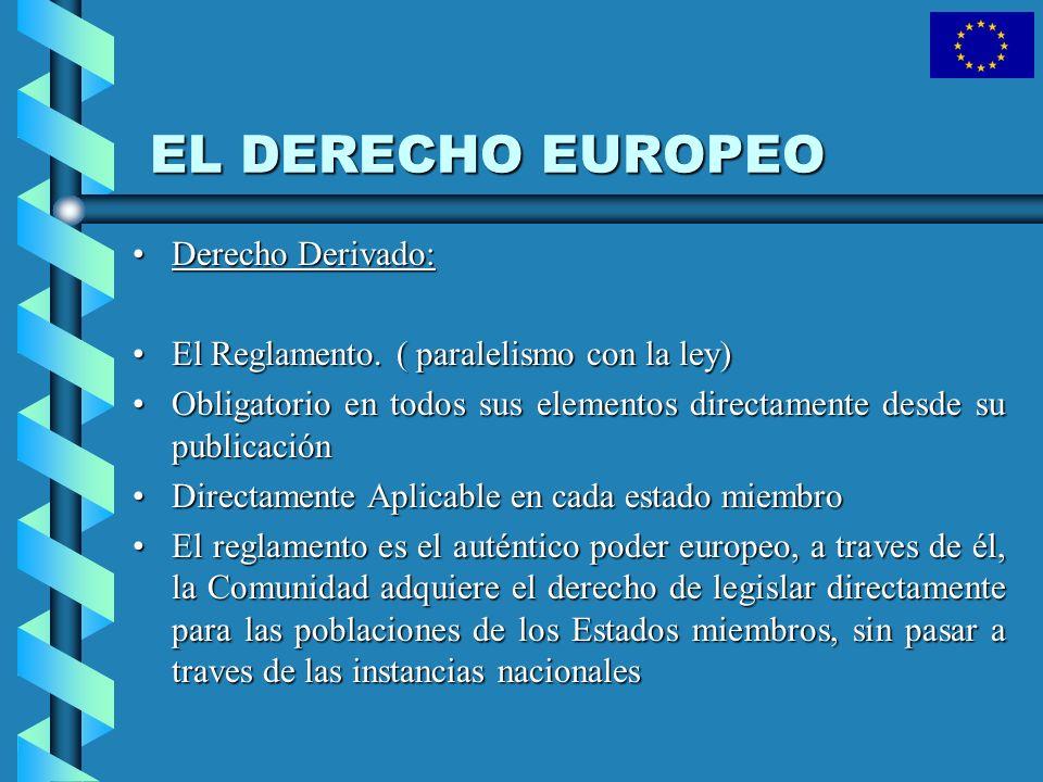 EL DERECHO EUROPEO Derecho Derivado: