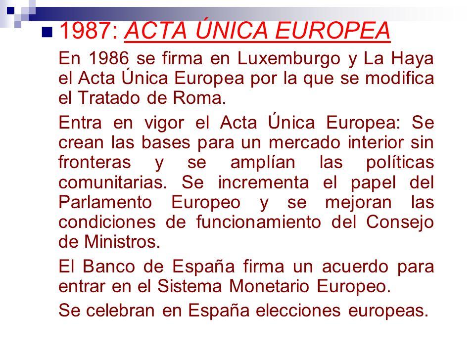 1987: ACTA ÚNICA EUROPEA En 1986 se firma en Luxemburgo y La Haya el Acta Única Europea por la que se modifica el Tratado de Roma.