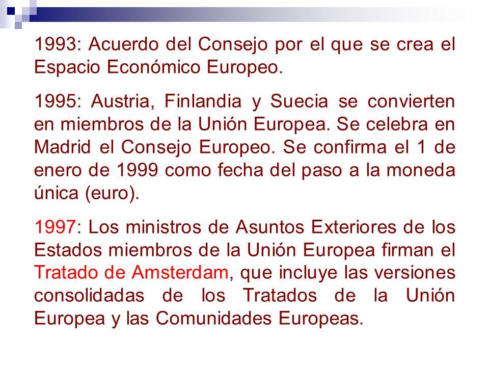 1993: Acuerdo del Consejo por el que se crea el Espacio Económico Europeo.