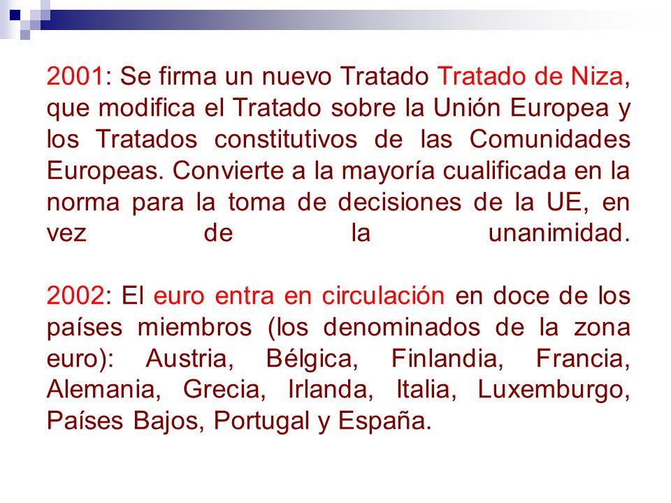 2001: Se firma un nuevo Tratado Tratado de Niza, que modifica el Tratado sobre la Unión Europea y los Tratados constitutivos de las Comunidades Europeas.