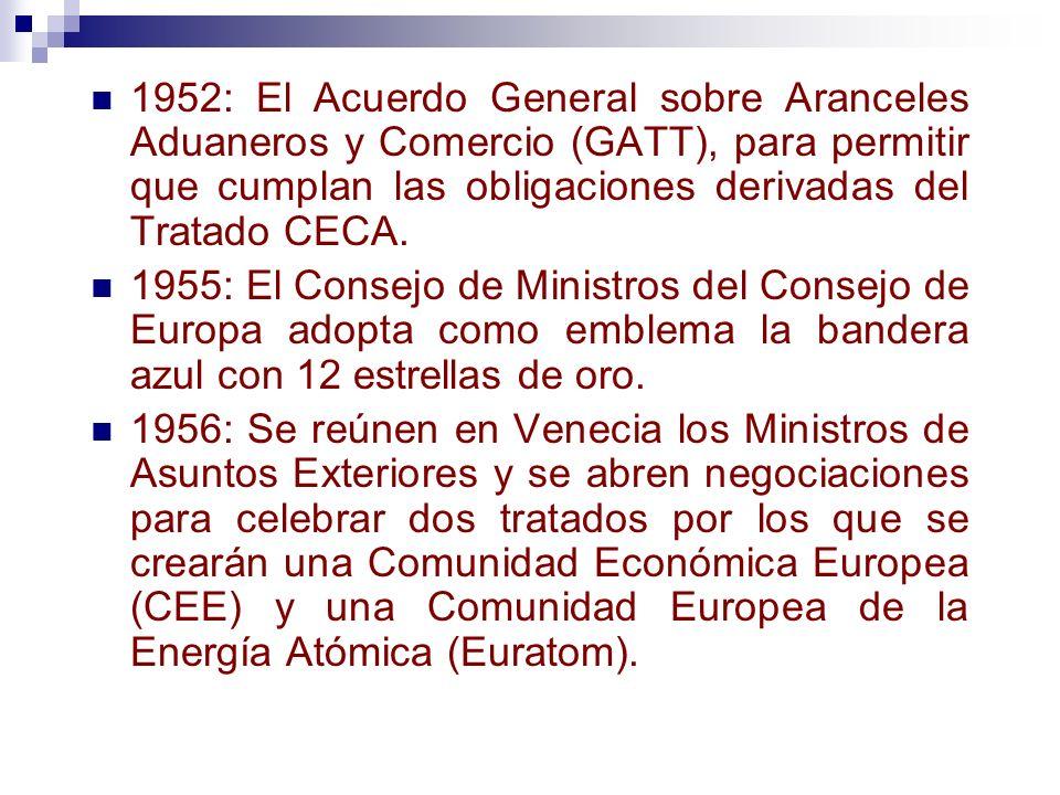 1952: El Acuerdo General sobre Aranceles Aduaneros y Comercio (GATT), para permitir que cumplan las obligaciones derivadas del Tratado CECA.
