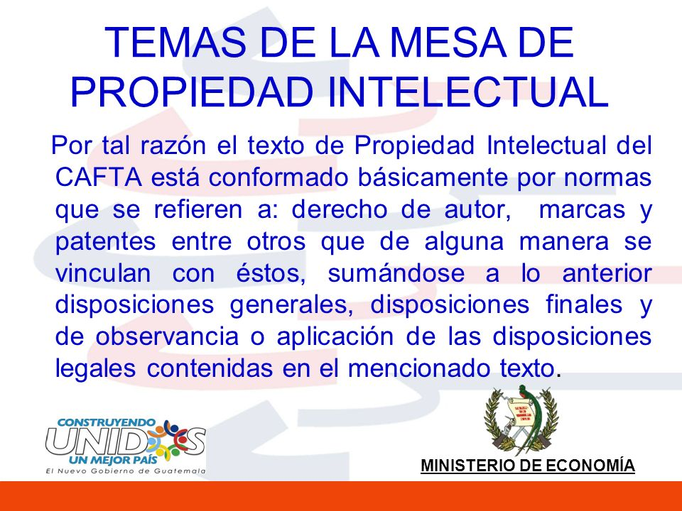 TEMAS DE LA MESA DE PROPIEDAD INTELECTUAL