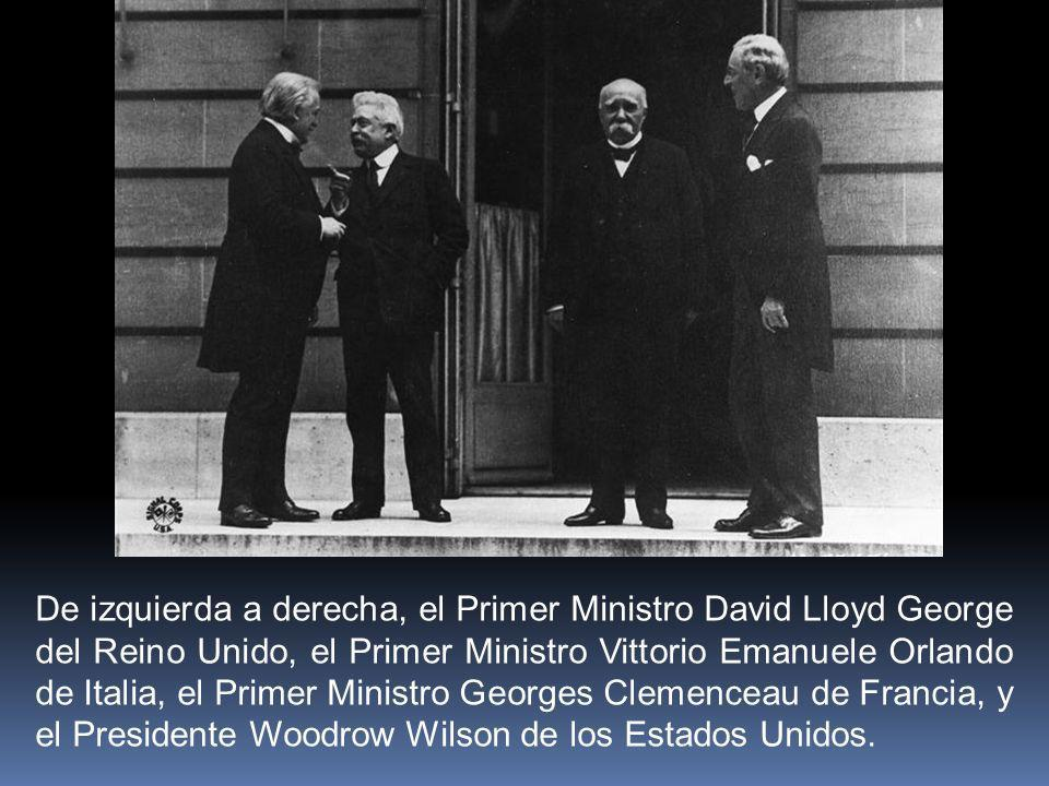 De izquierda a derecha, el Primer Ministro David Lloyd George del Reino Unido, el Primer Ministro Vittorio Emanuele Orlando de Italia, el Primer Ministro Georges Clemenceau de Francia, y el Presidente Woodrow Wilson de los Estados Unidos.