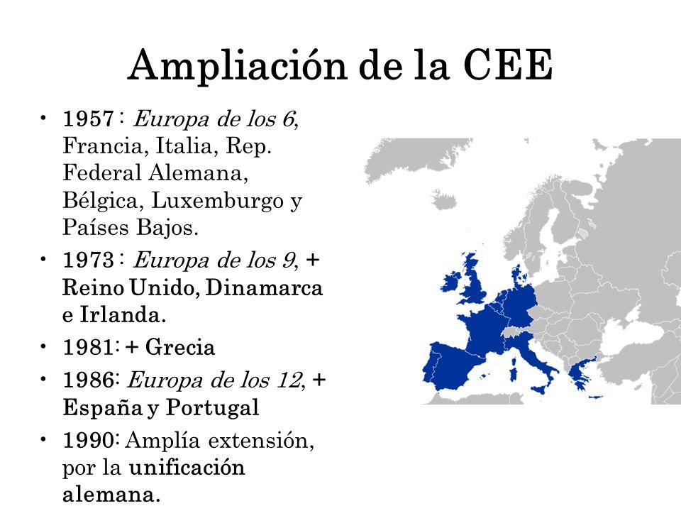Ampliación de la CEE 1957 : Europa de los 6, Francia, Italia, Rep. Federal Alemana, Bélgica, Luxemburgo y Países Bajos.