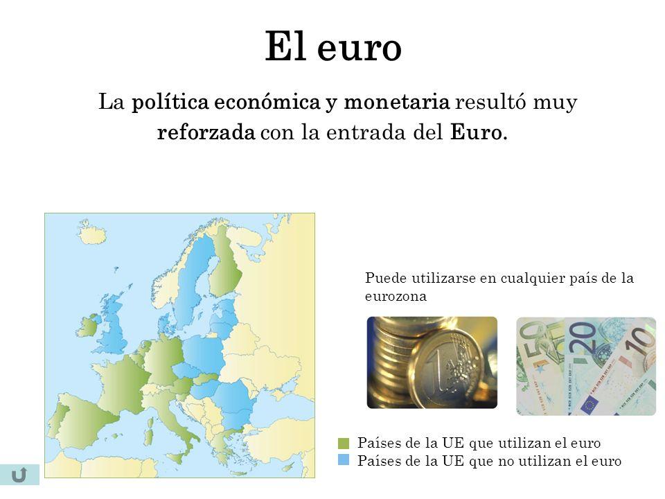 El euro La política económica y monetaria resultó muy reforzada con la entrada del Euro.