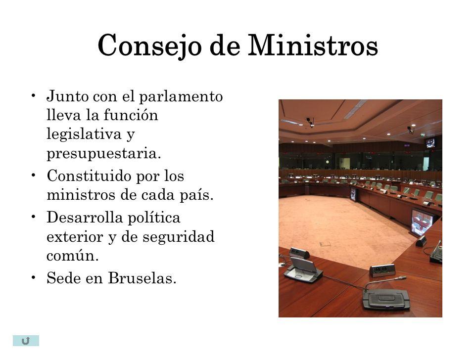 Consejo de Ministros Junto con el parlamento lleva la función legislativa y presupuestaria. Constituido por los ministros de cada país.