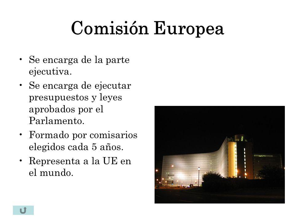 Comisión Europea Se encarga de la parte ejecutiva.