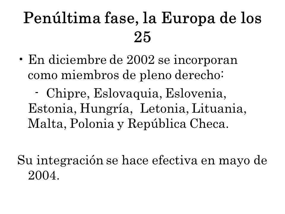 Penúltima fase, la Europa de los 25