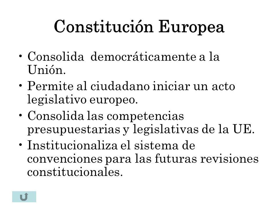 Constitución Europea Consolida democráticamente a la Unión.
