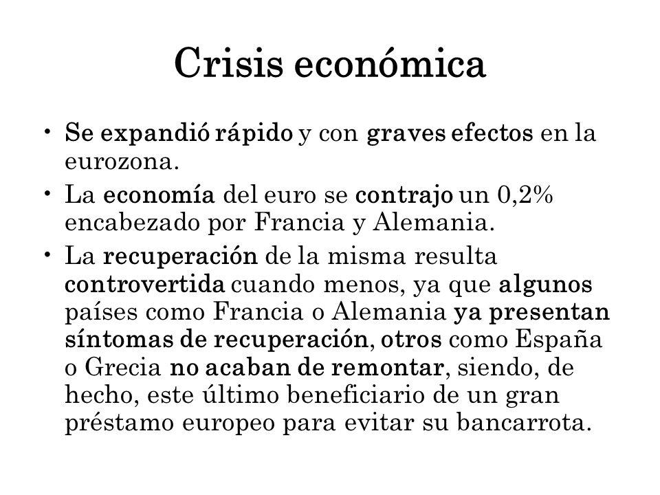 Crisis económica Se expandió rápido y con graves efectos en la eurozona. La economía del euro se contrajo un 0,2% encabezado por Francia y Alemania.