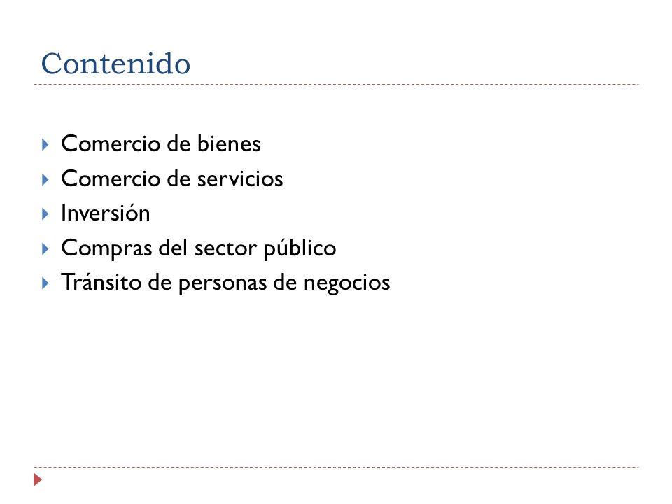Contenido Comercio de bienes Comercio de servicios Inversión