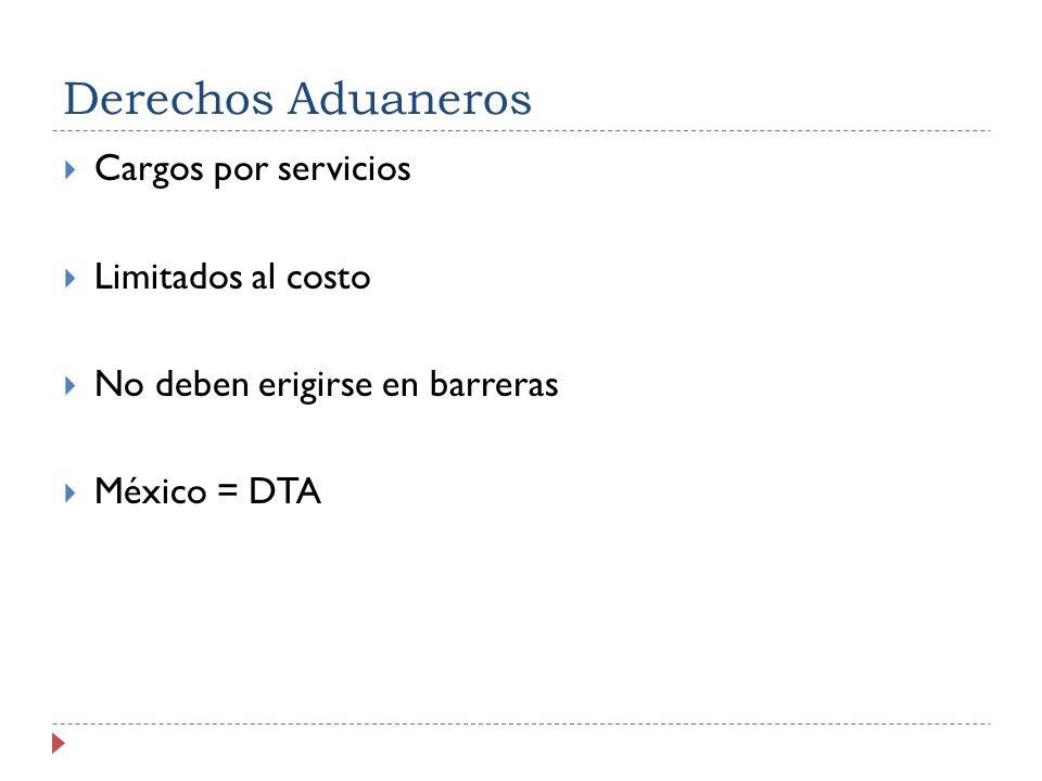 Derechos Aduaneros Cargos por servicios Limitados al costo