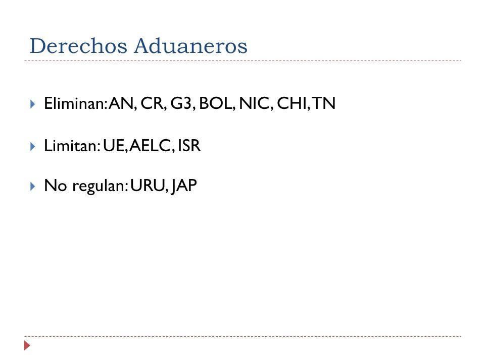 Derechos Aduaneros Eliminan: AN, CR, G3, BOL, NIC, CHI, TN