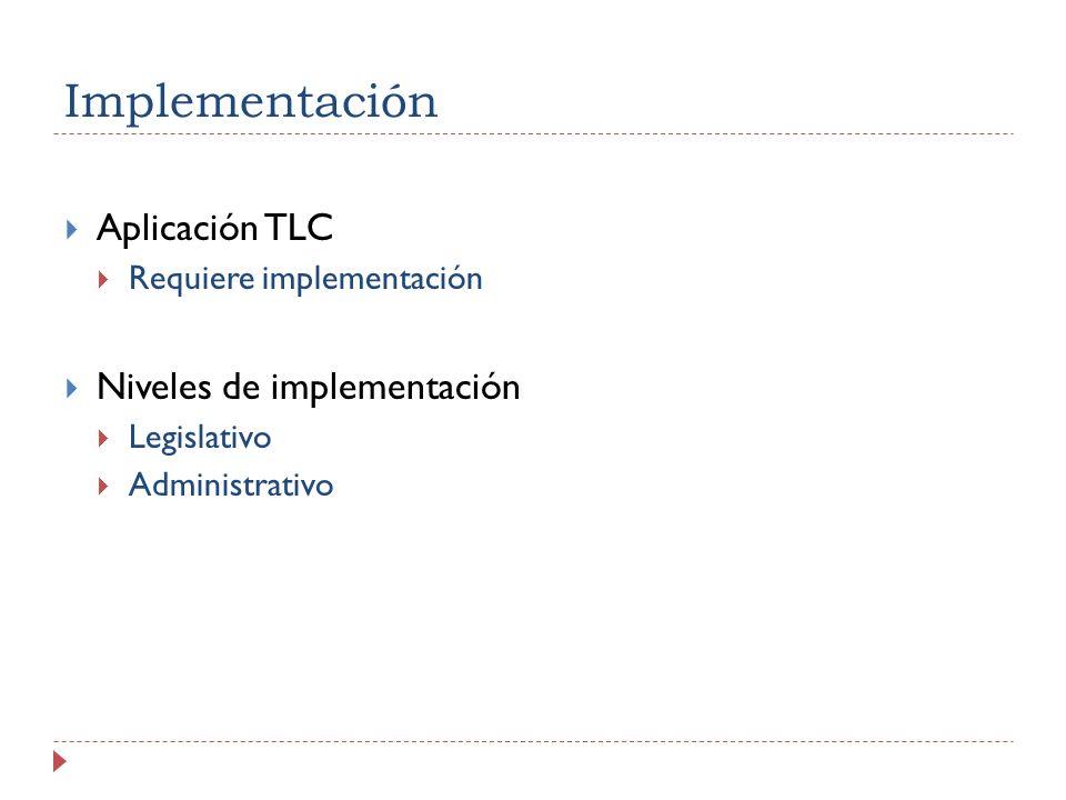 Implementación Aplicación TLC Niveles de implementación