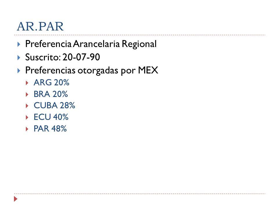 AR.PAR Preferencia Arancelaria Regional Suscrito: 20-07-90