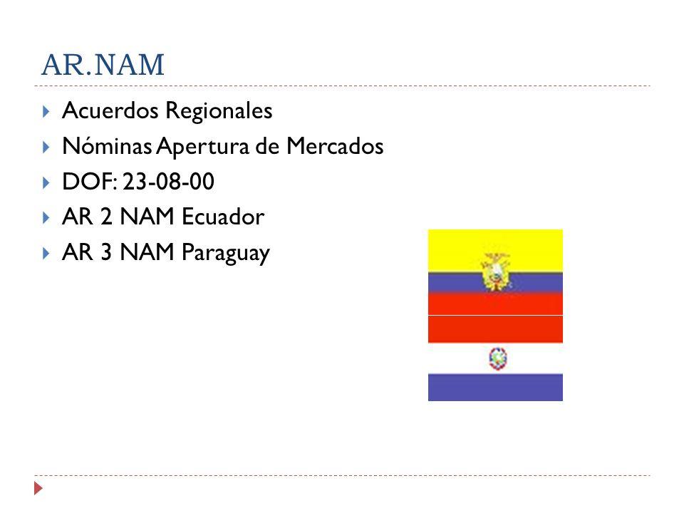 AR.NAM Acuerdos Regionales Nóminas Apertura de Mercados DOF: 23-08-00