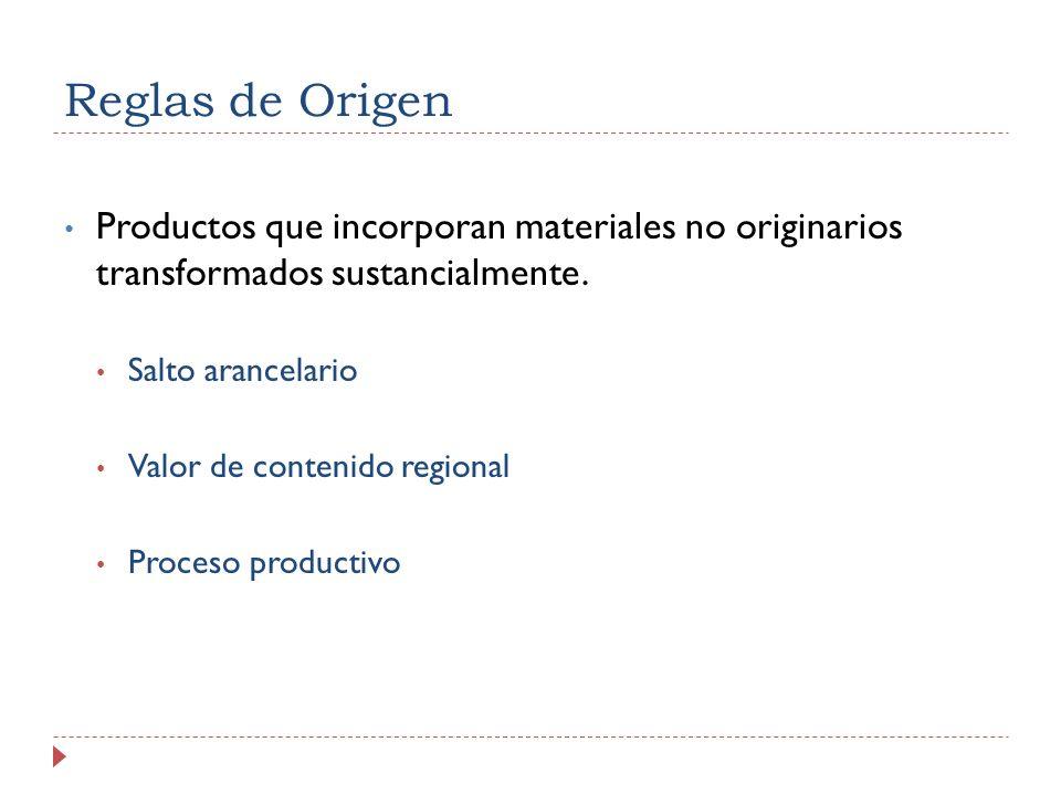 Reglas de Origen Productos que incorporan materiales no originarios transformados sustancialmente.