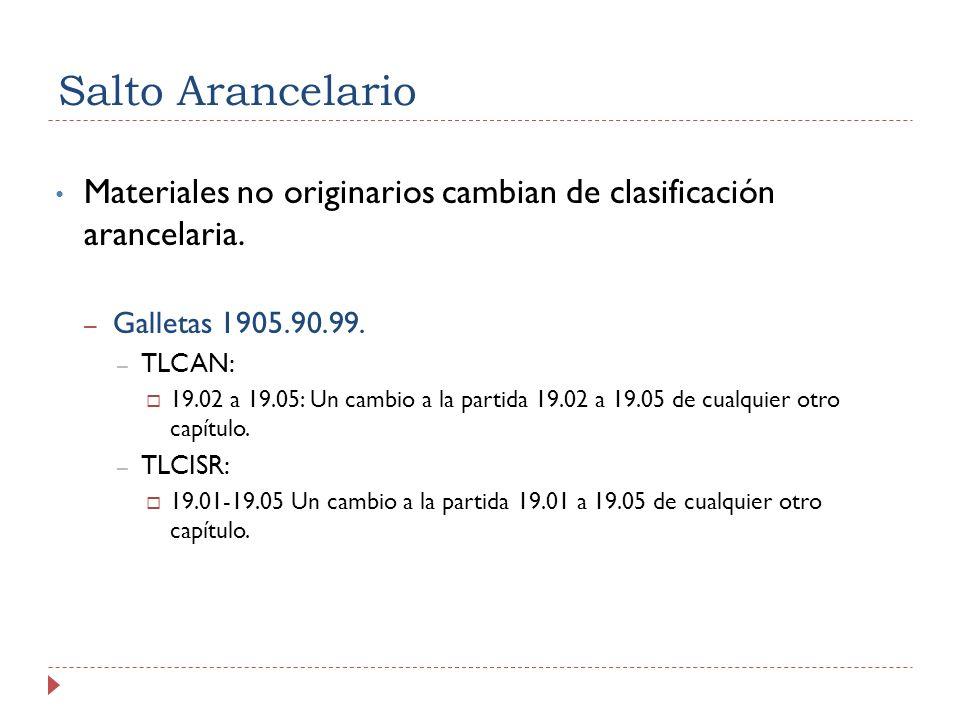 Salto Arancelario Materiales no originarios cambian de clasificación arancelaria. Galletas 1905.90.99.