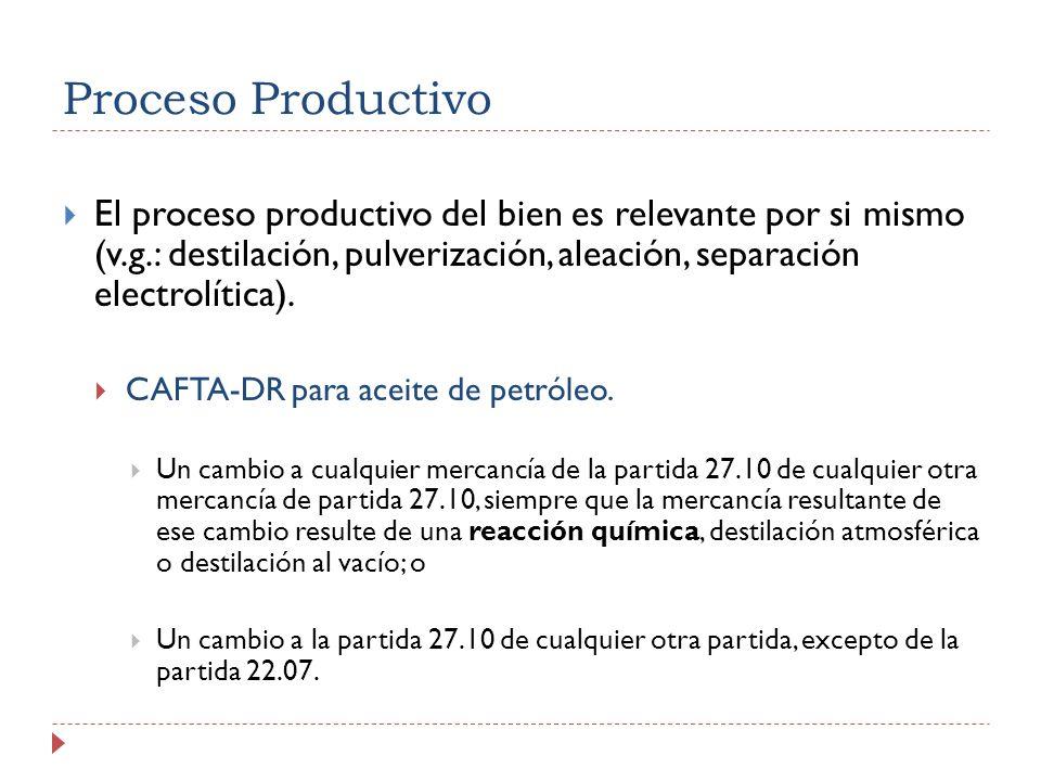 Proceso Productivo El proceso productivo del bien es relevante por si mismo (v.g.: destilación, pulverización, aleación, separación electrolítica).