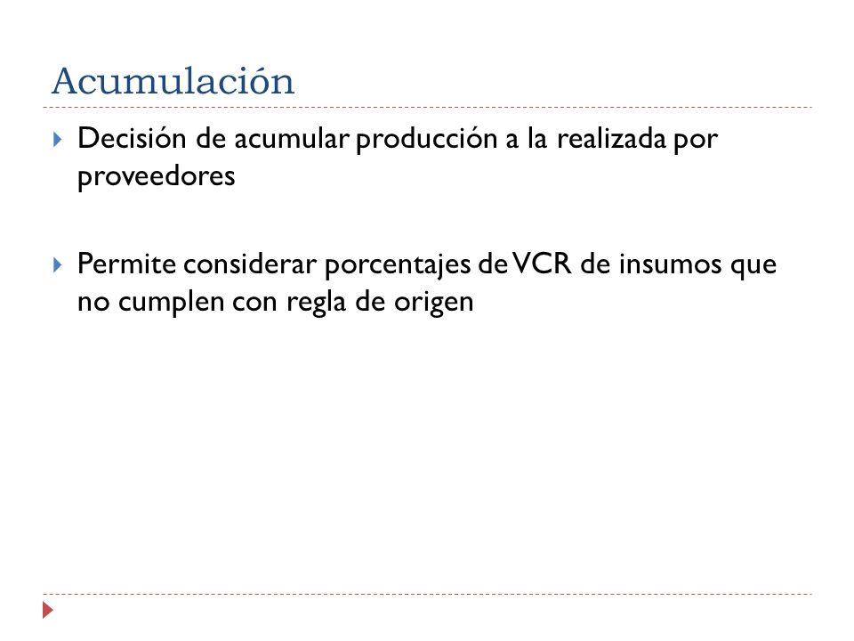 Acumulación Decisión de acumular producción a la realizada por proveedores.
