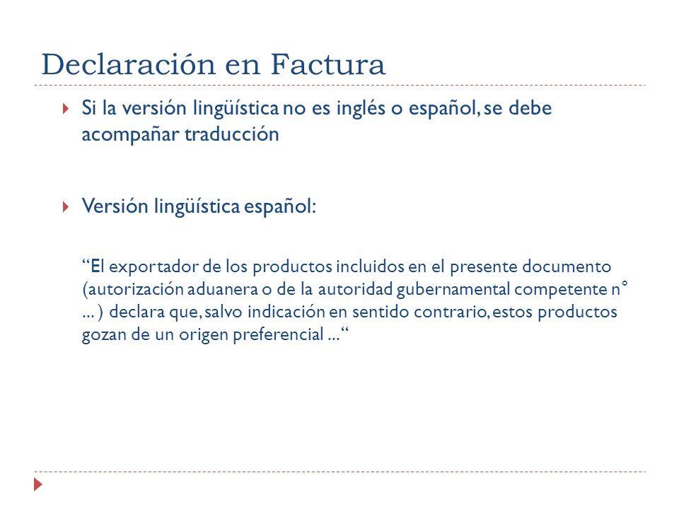 Declaración en Factura